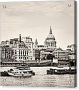 North Side Of The Thames Bw Acrylic Print