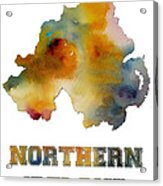 Northern Ireland Watercolor  Map Acrylic Print