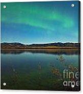 Northern Lights And Fall Colors At Calm Lake Acrylic Print