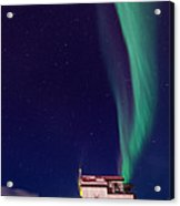 Northern Lights And House Boat On Great Slave Lake In Yellowknife Acrylic Print