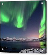 Northern Lights And Moonlit Landscape Acrylic Print