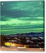 Northern Lights Aurora Borealis Over Rural Winter Acrylic Print