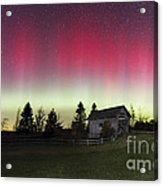 Northern Lights Over Foster Covered  Bridge Cabot Vt Acrylic Print