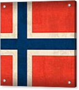 Norway Flag Distressed Vintage Finish Acrylic Print by Design Turnpike