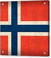 Norway Flag Distressed Vintage Finish Acrylic Print