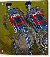 Nos Bottles In A Racing Truck Trunk Acrylic Print