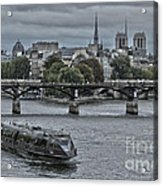 Notre Dame And Boat On The River Seine Paris Acrylic Print