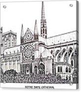 Notre Dame Cathedral - Paris Acrylic Print by Frederic Kohli