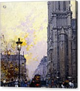Notre Dame De Paris Acrylic Print by Eugene Galien-Laloue