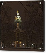 Notre Dame Golden Dome Snow Acrylic Print