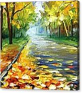 November Alley - Palette Knife Landscape Autumn Alley Oil Painting On Canvas By Leonid Afremov - Siz Acrylic Print