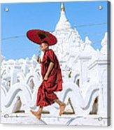 Novice Monk Jumping On White Pagoda - Mandalay - Burma Acrylic Print