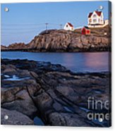 Nubble Light Along Maine's Rugged Coast York Beach Maine Acrylic Print