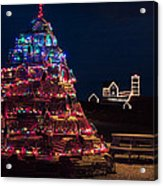 Nubble Lighthouse And Lobster Pot Tree Acrylic Print