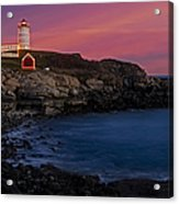 Nubble Lighthouse At Sunset Acrylic Print