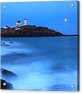 Nubble Lighthouse Full Moon Tide Acrylic Print