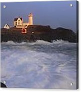Nubble Lighthouse Holiday Lights And High Surf Acrylic Print