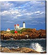 Nubble Lighthouse Acrylic Print by Karen Winterholer