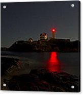 Nubble Lighthouse Lit By The Full Moon Acrylic Print
