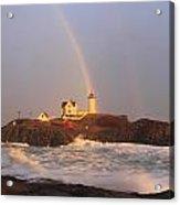 Nubble Lighthouse Rainbow And High Surf Acrylic Print
