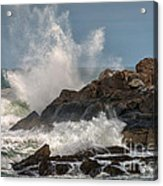 Nubble Lighthouse Waves 1 Acrylic Print by Scott Thorp