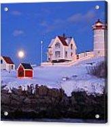 Nubble Lighthouse Winter Moon Acrylic Print by John Burk
