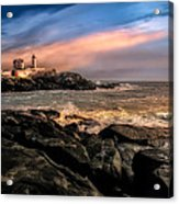 Nubble Lighthouse Winter Solstice Sunset Acrylic Print