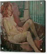 Nude In Old Tub, 2008 Oil On Canvas Acrylic Print
