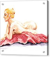 Nude Model Gesture Xiv Resting On Red Acrylic Print