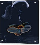 Nude On A Lilly Pad In Moonlight Acrylic Print