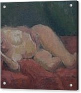 Nude On Red And Green Acrylic Print