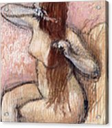 Nude Seated Woman Arranging Her Hair Femme Nu Assise Se Coiffant Acrylic Print