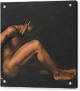Nude Sitting Acrylic Print by L Cooper