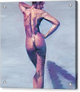 Nude Woman In Finger Strokes Acrylic Print by Shelley Irish