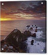 Nugget Point Lighthouse At Sunrise Acrylic Print
