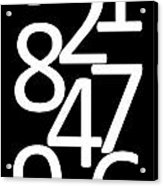 Numbers In Black And White Acrylic Print