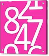 Numbers In Pink And White Acrylic Print