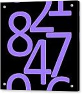 Numbers In Purple And Black Acrylic Print