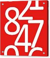 Numbers In Red And White Acrylic Print