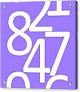 Numbers In White And Purple Acrylic Print