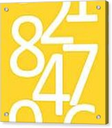 Numbers In Yellow And White Acrylic Print
