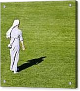 Nun On Green Soccer Field Acrylic Print by Brch Photography