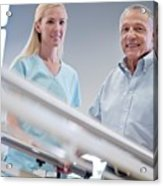 Nurse With Senior Man Using Parallel Walking Bars Acrylic Print