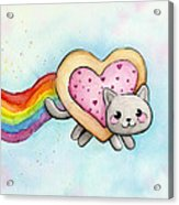 Nyan Cat Valentine Heart Acrylic Print