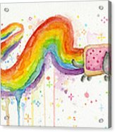 Nyan Cat Watercolor Acrylic Print