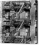 Nyc Fire Escape   Stairs And Shadows In Black And White Acrylic Print