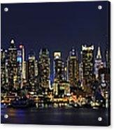 Nyc Skyline Full Moon Panorama Acrylic Print by Susan Candelario