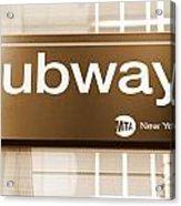 Nyc Subway Sign Acrylic Print