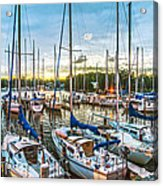 Oak Pt Harbor At Sundown Acrylic Print