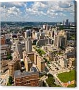 Oakland Pitt Campus With City Of Pittsburgh In The Distance Acrylic Print
